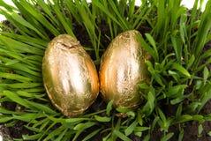 Huevos de oro de Pascua Imagen de archivo