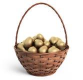Huevos de oro en cesta de mimbre Semana Santa icono 3D aislado Fotos de archivo libres de regalías