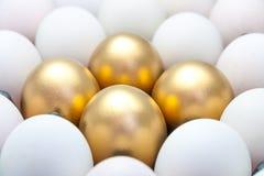 Huevos de oro entre los huevos blancos Imágenes de archivo libres de regalías