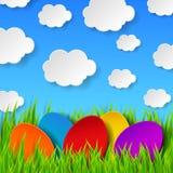Huevos de Pascua abstractos hechos del papel en fondo colorido de la primavera libre illustration