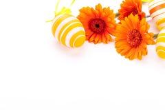 Huevos de Pascua adornados amarillos coloridos Fotografía de archivo libre de regalías