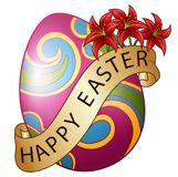 Huevos de Pascua adornados con la cinta y las flores marrones ilustración del vector