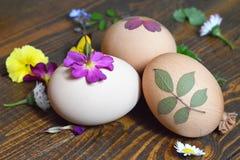 Huevos de Pascua adornados con las hojas y las flores Fotografía de archivo