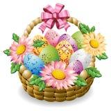 Huevos de Pascua adornados y coloridos en una cesta con las flores de la primavera libre illustration