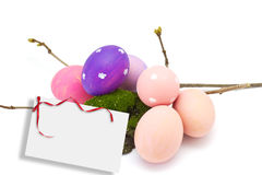 Huevos de Pascua aislados en blanco Fotografía de archivo