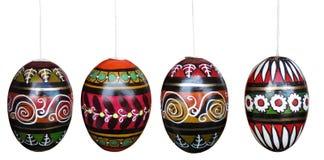 Huevos de Pascua aislados en blanco con los caminos de recortes Imagen de archivo