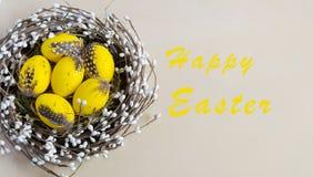 Huevos de Pascua amarillos en la jerarquía en fondo ligero con las palabras Pascua feliz Tradicionalmente adornamiento del día de Foto de archivo