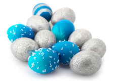Huevos de Pascua azules y de plata Imagen de archivo
