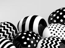 Huevos de Pascua blancos y negros sobre fondo gris claro libre illustration