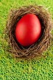 Huevos de Pascua coloridos adornados en fondo del color Imagen de archivo