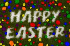 Huevos de Pascua coloridos con la tipografía de pascua stock de ilustración
