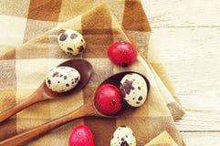 Huevos de Pascua coloridos de las codornices en cucharas de madera Imágenes de archivo libres de regalías