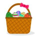 Huevos de Pascua coloridos en arco rosado del witn de la cesta Ilustración del vector libre illustration
