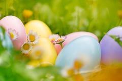 Huevos de Pascua coloridos en el jardín Fotografía de archivo