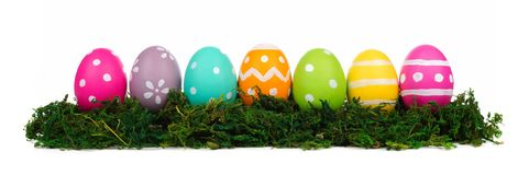 Huevos de Pascua coloridos en el musgo verde aislado en blanco Imagenes de archivo