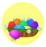 Huevos de Pascua coloridos en fondo asoleado ilustración del vector