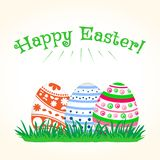 Huevos de Pascua coloridos en hierba verde Ilustración del vector ilustración del vector