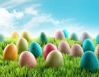 Huevos de Pascua coloridos en un campo de la hierba Imagenes de archivo