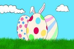 Huevos de Pascua coloridos en un campo de hierba stock de ilustración