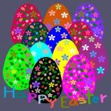 Huevos de Pascua coloridos, flor del modelo, tarjeta de felicitación de Pascua de la plantilla Fotografía de archivo libre de regalías