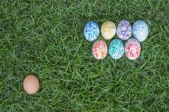 Huevos de Pascua coloridos, fondo de la hierba Fotos de archivo libres de regalías