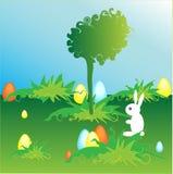 Huevos de Pascua con el conejito Fotografía de archivo libre de regalías