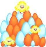 Huevos de Pascua con el pollo Imagen de archivo libre de regalías