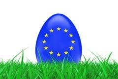 Huevos de Pascua con la bandera de la unión europea en hierba verde rende 3D ilustración del vector