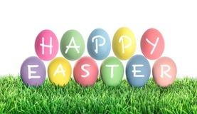 Huevos de Pascua con la letra PASCUA FELIZ Decoración colorida Imagen de archivo