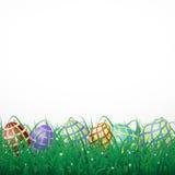 Huevos de Pascua con la malla en hierba en un ingenio brillante blanco del fondo Foto de archivo