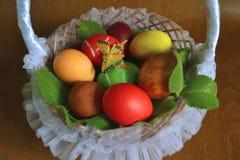 Huevos de Pascua con la mariposa Imagen de archivo libre de regalías