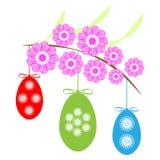 Huevos de Pascua con la rama en el fondo blanco libre illustration