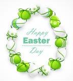 Huevos de Pascua con las cintas Imagen de archivo libre de regalías
