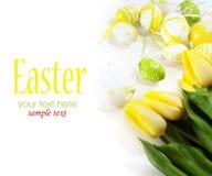 Huevos de Pascua con las flores amarillas del tulipán Imagen de archivo libre de regalías