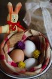 Huevos de Pascua con las flores y el conejito de pascua Fotos de archivo libres de regalías