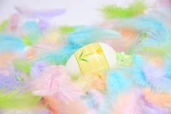 Huevos de Pascua con las plumas Fotos de archivo
