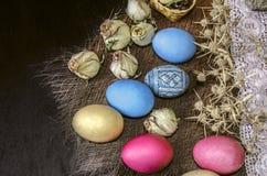 Huevos de Pascua con los brotes y las espinas color de rosa secos en la tira a cielo abierto Imagen de archivo