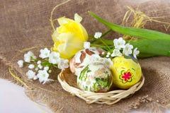 Huevos de Pascua con los tulipanes amarillos Fotografía de archivo