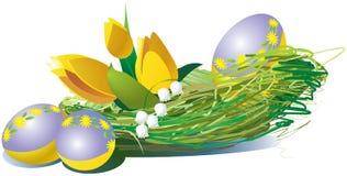 Huevos de Pascua con los tulipanes amarillos ilustración del vector