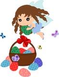 Huevos de Pascua de la historieta en cesta y un trixie libre illustration