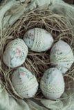 Huevos de Pascua de la materia textil Fotografía de archivo