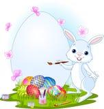 Huevos de Pascua de la pintura del conejito de pascua stock de ilustración