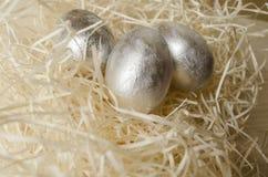Huevos de Pascua de plata Foto de archivo