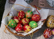 Huevos de Pascua decorativos pintados Imagenes de archivo