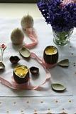 Huevos de Pascua del chocolate Fotografía de archivo