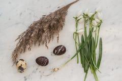 Huevos de Pascua del chocolate con las flores del resorte Imágenes de archivo libres de regalías