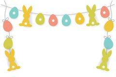 Huevos de Pascua del papel del vector y guirnalda del conejito como fondo o marco o frontera para la tarjeta de felicitación, car stock de ilustración