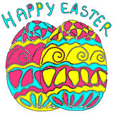 Huevos de Pascua dibujados mano Imágenes de archivo libres de regalías