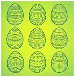 Huevos de Pascua dibujados mano fijados Fotografía de archivo libre de regalías