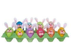 Huevos de Pascua divertidos del conejito de las caras en un cartón del huevo fotos de archivo
